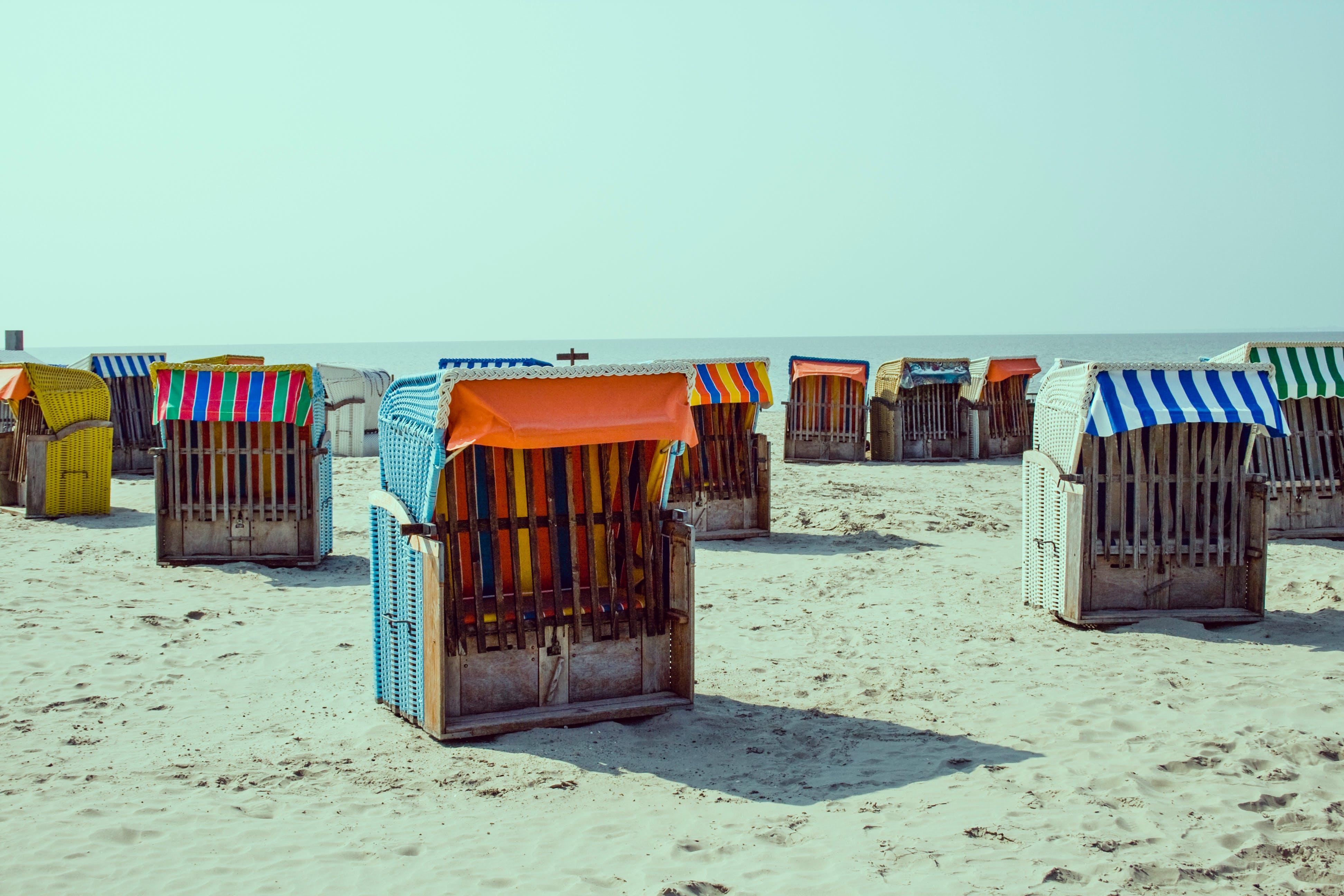 beach, sand, shacks