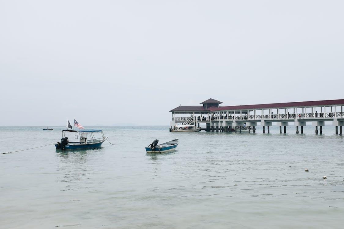 chmury, jacht, krajobraz