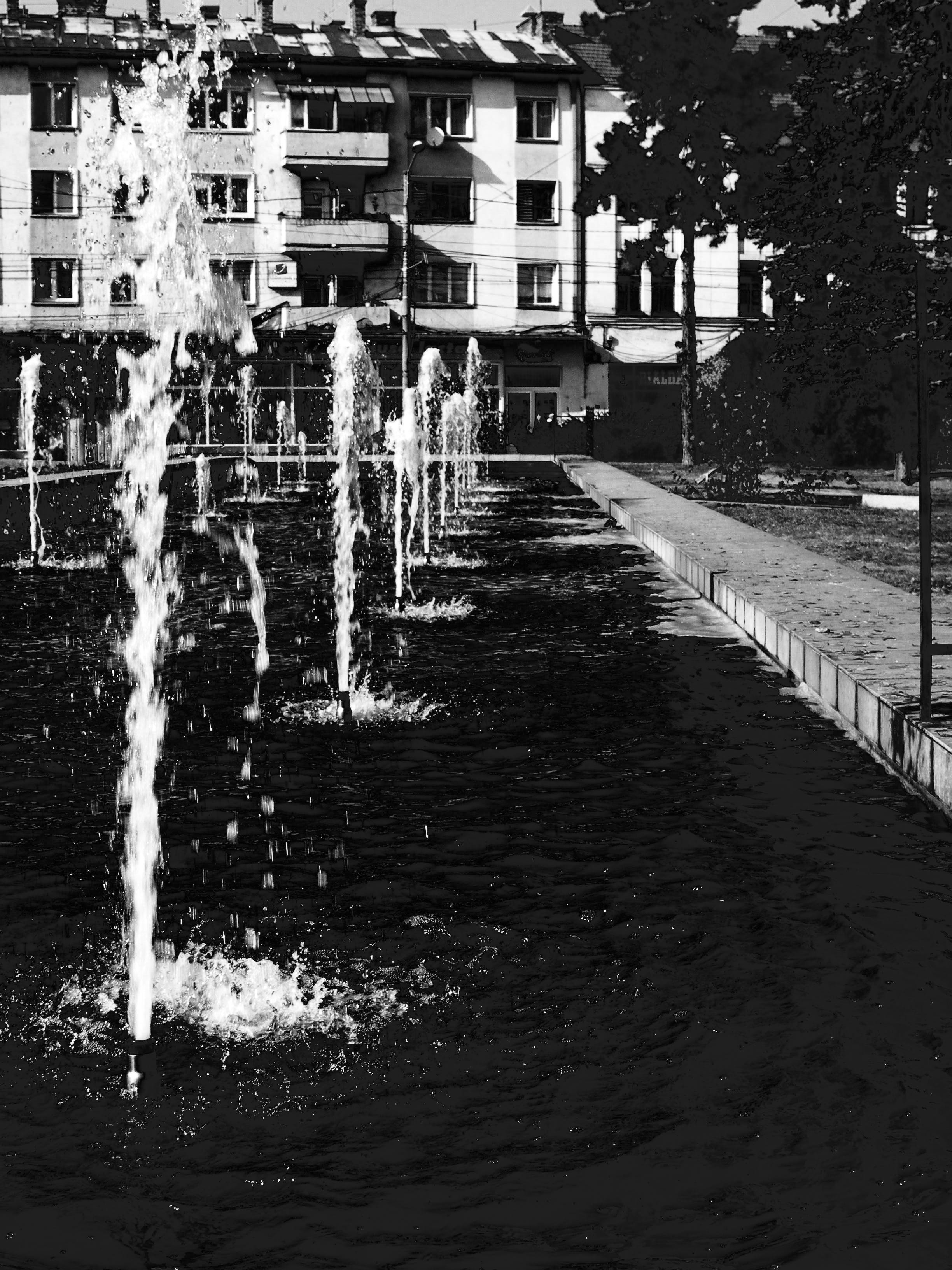 Grayscale Photography Water Fountain