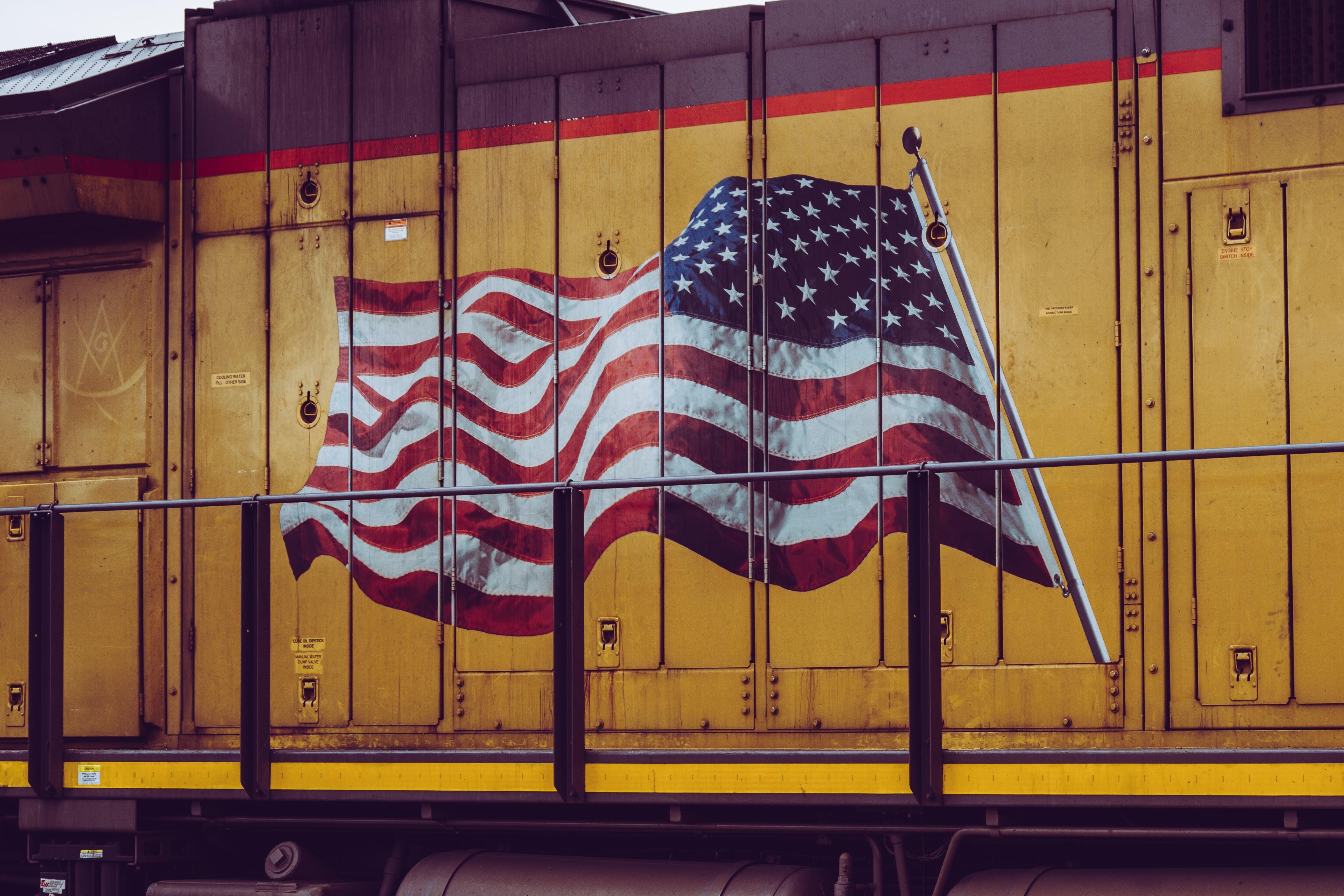 Brown U.s.a Flag-printed Cabinet