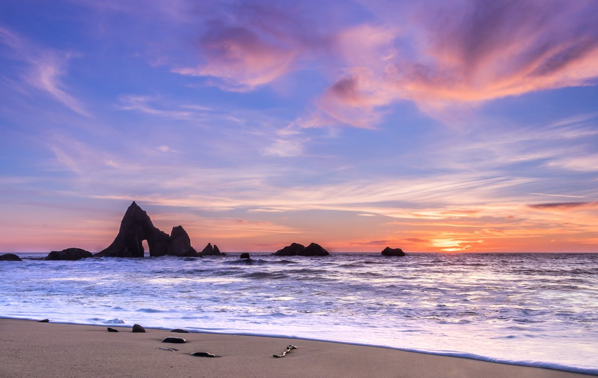 alkonyat, csendes-óceán, ég