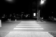 night, street, zebra crossing