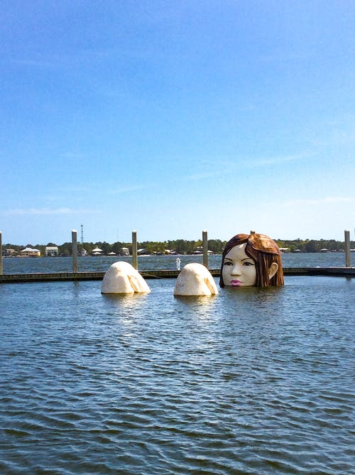 Free stock photo of copy space, lady of the lake, marina, sculpture