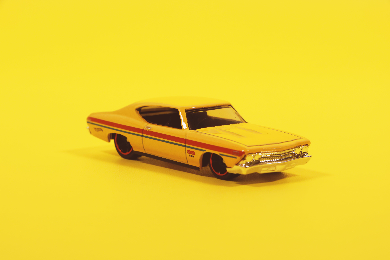 auto, gelb, miniatur