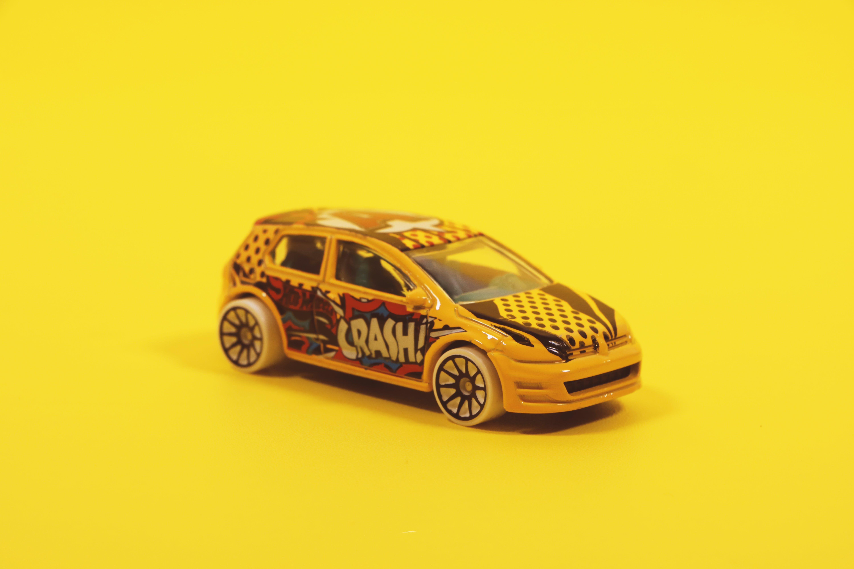 Yellow and Red 5-door Hatchback Die-cast Model