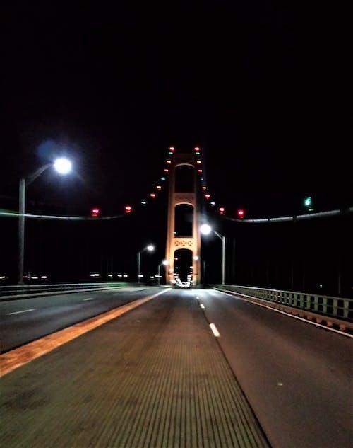 Free stock photo of mackinac bridge, michigan, night bridge, Straights of Mackinaw