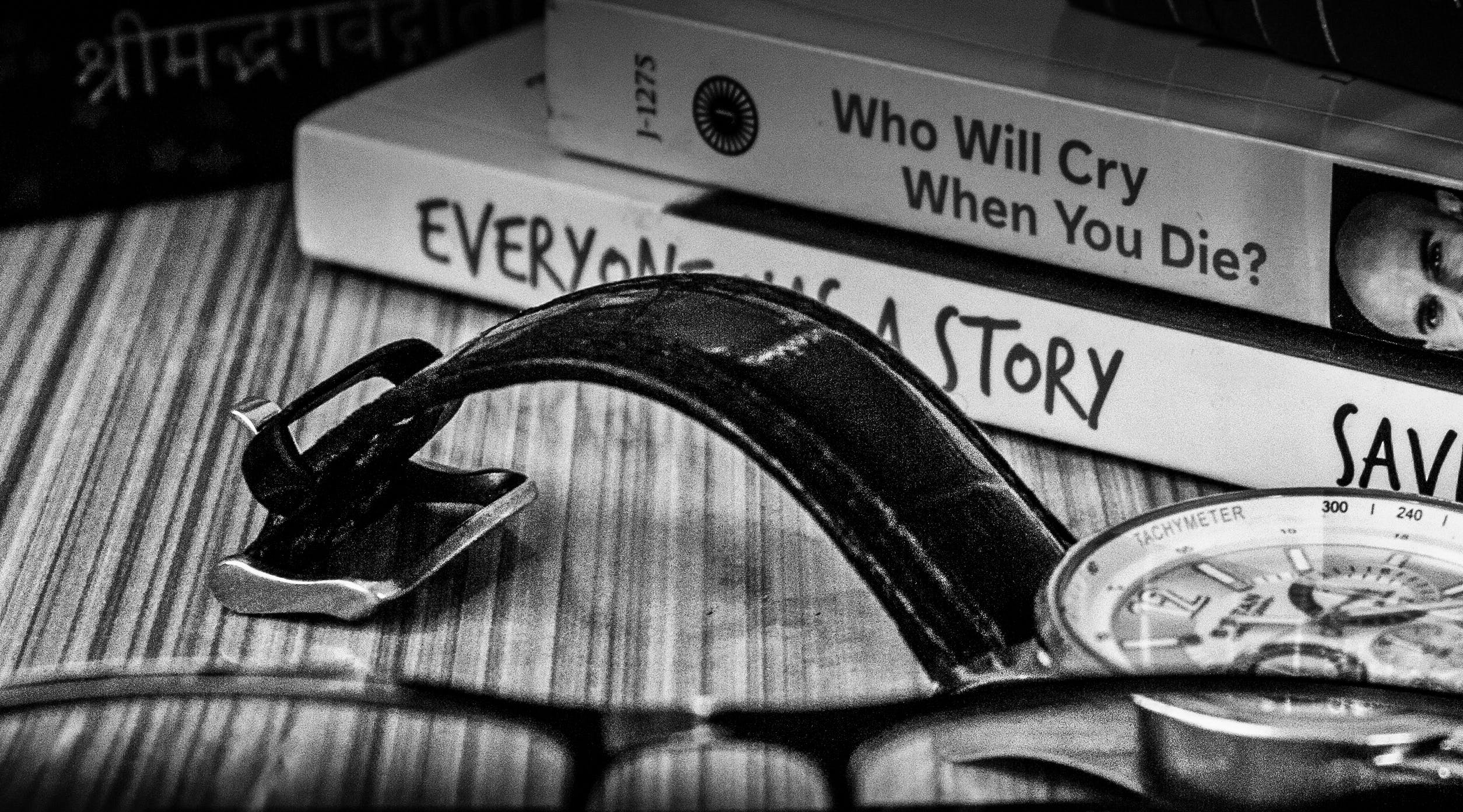 Free stock photo of Analog watch, black and white, books, monochrome