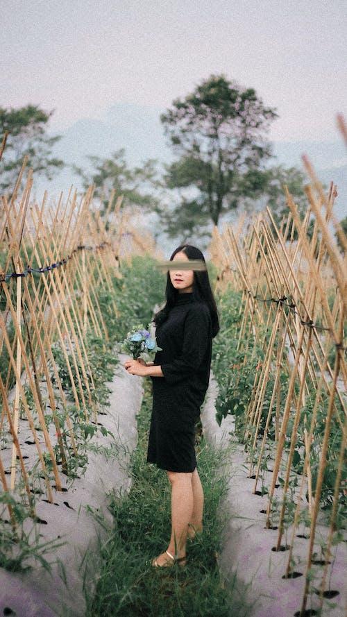 Woman in Black Long Sleeve Dress Standing on Brown Wheat Field