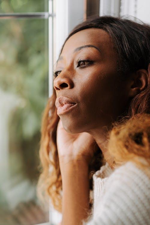 Kostnadsfri bild av brunt hår, fönster, inhemska livet