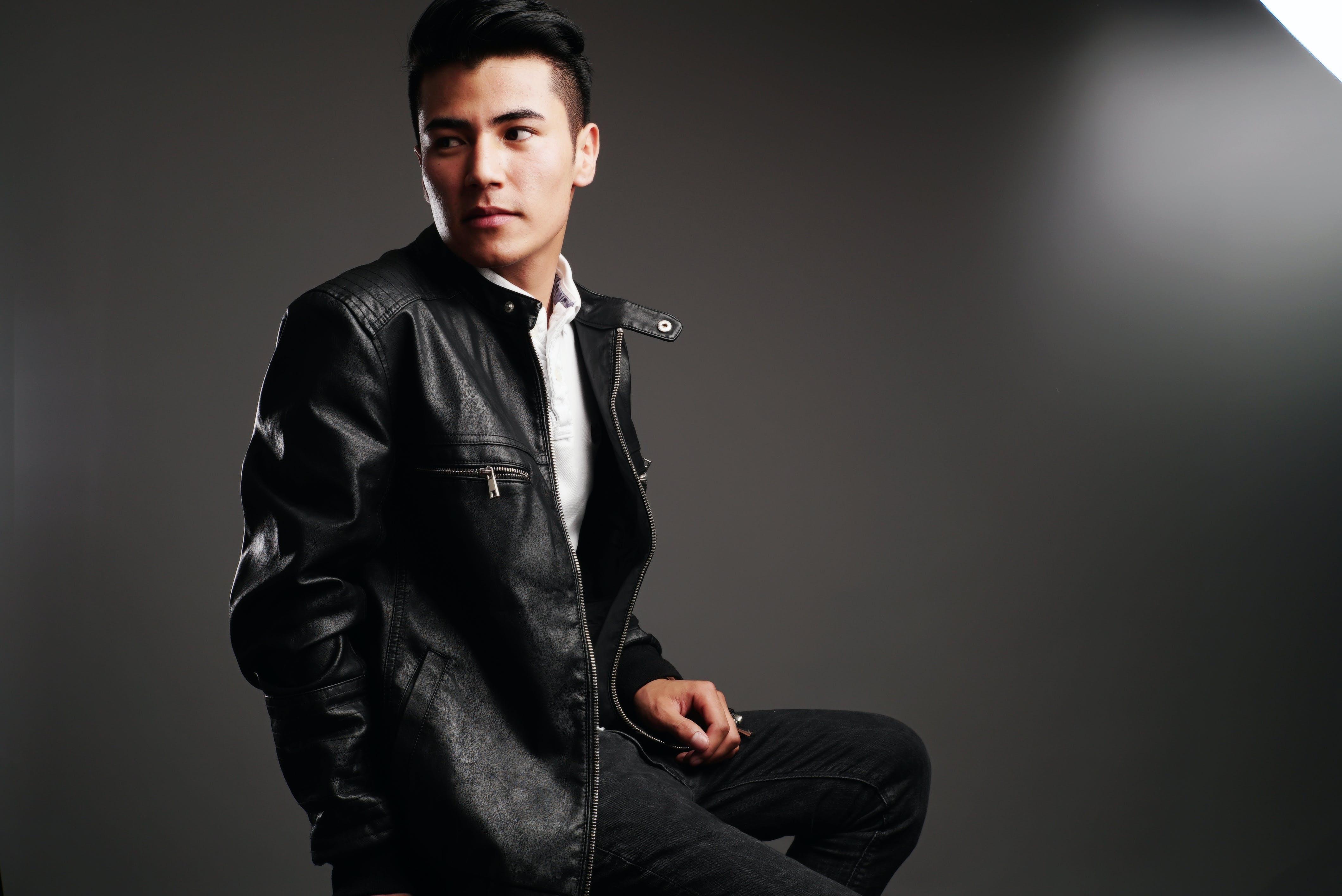 Man in Black Leather Full-zip Jacket
