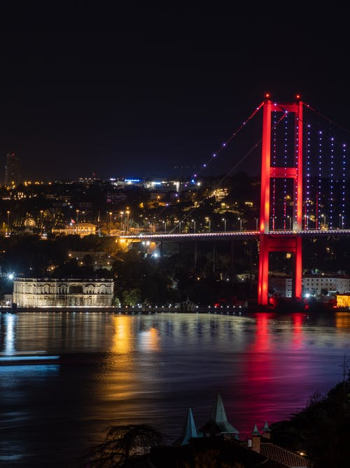 Red Bridge over Water during Night Time
