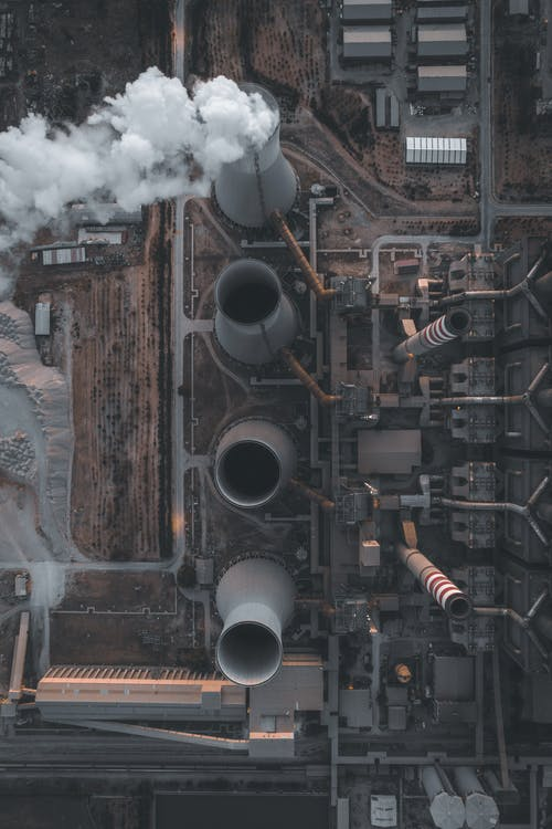 High chimneys and buildings of central heating plant from above