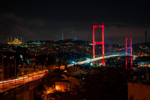 Bridge over City during Night Time