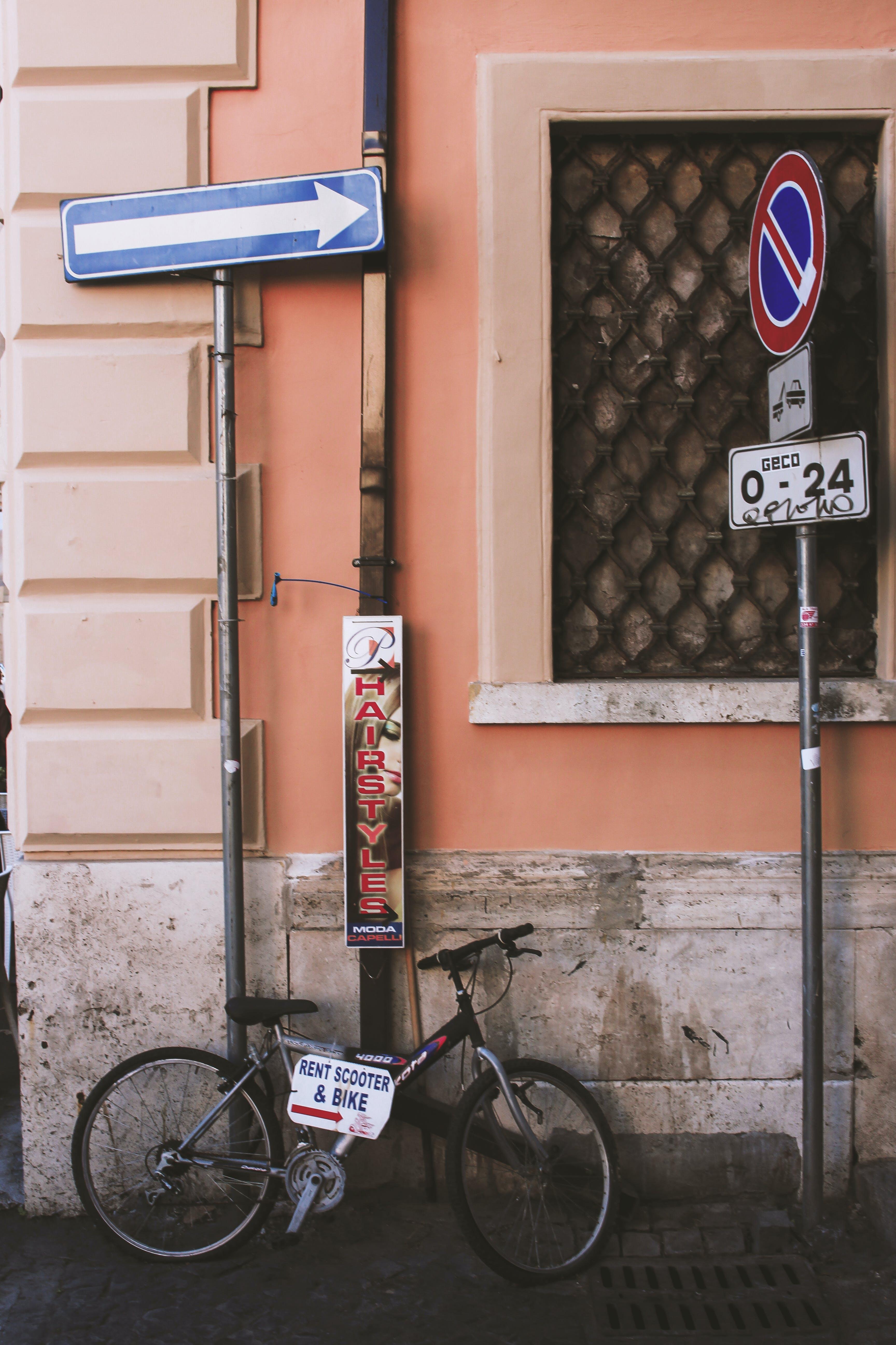 Black Full-suspension Bike on Road