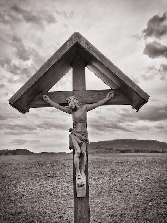 Crucifix Grayscale Photo