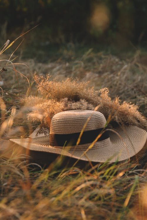 Close-Up View of Hat on Grass