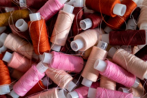 An Overhead Shot of Sewing Threads