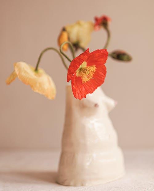 White and Red Flower on White Ceramic Vase
