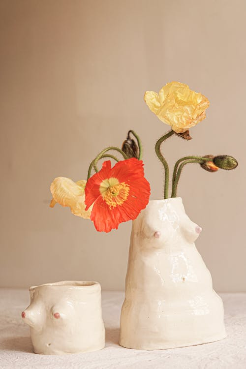 Yellow and Red Flower in White Ceramic Vase