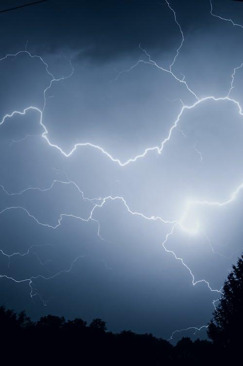 Lightning On Night Sky