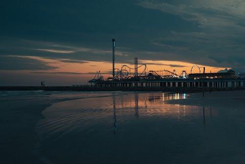 シティ, ビーチ, ビーチの夕日の無料の写真素材
