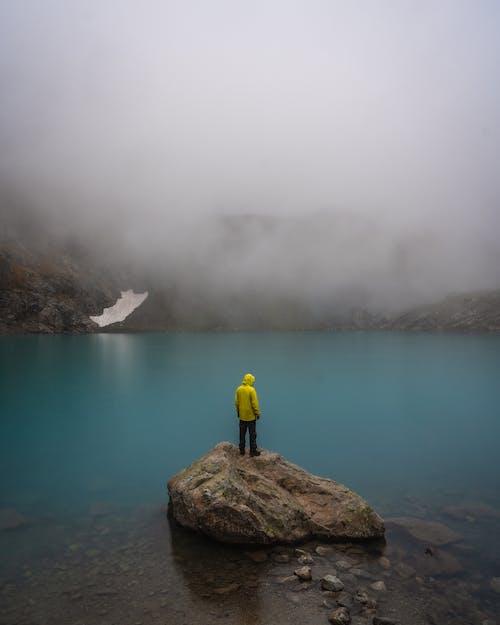 Бесплатное стоковое фото с вид сзади, желтая куртка, на открытом воздухе