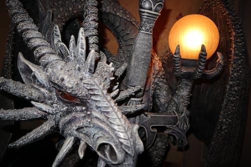 Free stock photo of dragon, dragon lamp, dragon sculpture