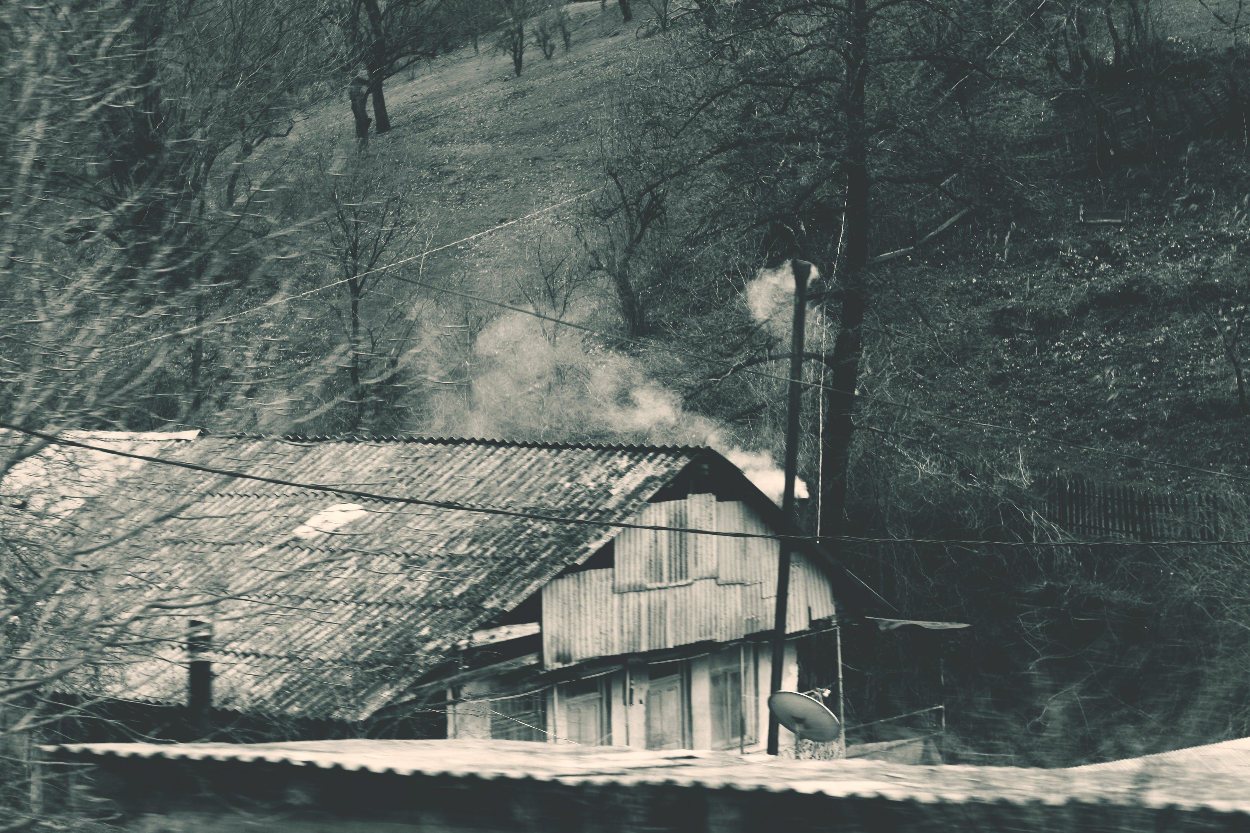 Kostenloses Stock Foto zu architektur, dach, schwarz und weiß