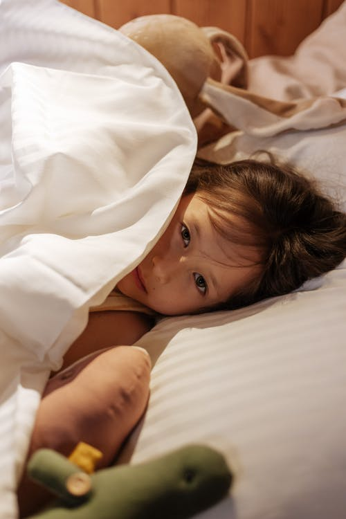 Girl Tucked in Bed with Plush Toys