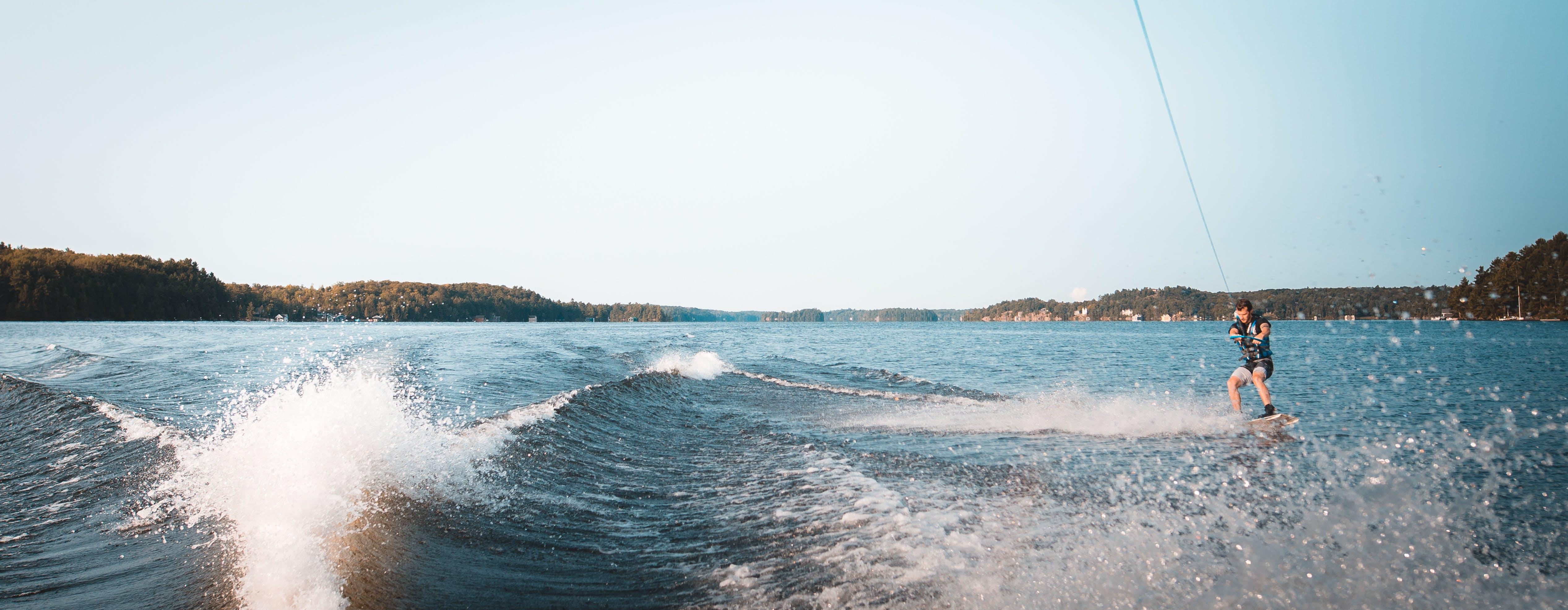 Free stock photo of boat, canada, lake, wakeboard