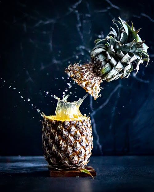 Close-Up View of Pineapple Splash