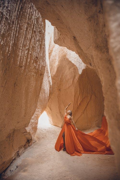 A Female Model Posing in Cave, Turkey