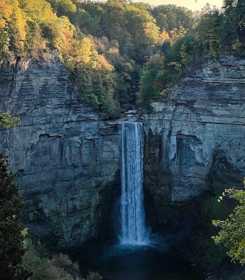 Waterfalls Between Gray Rocky Mountain