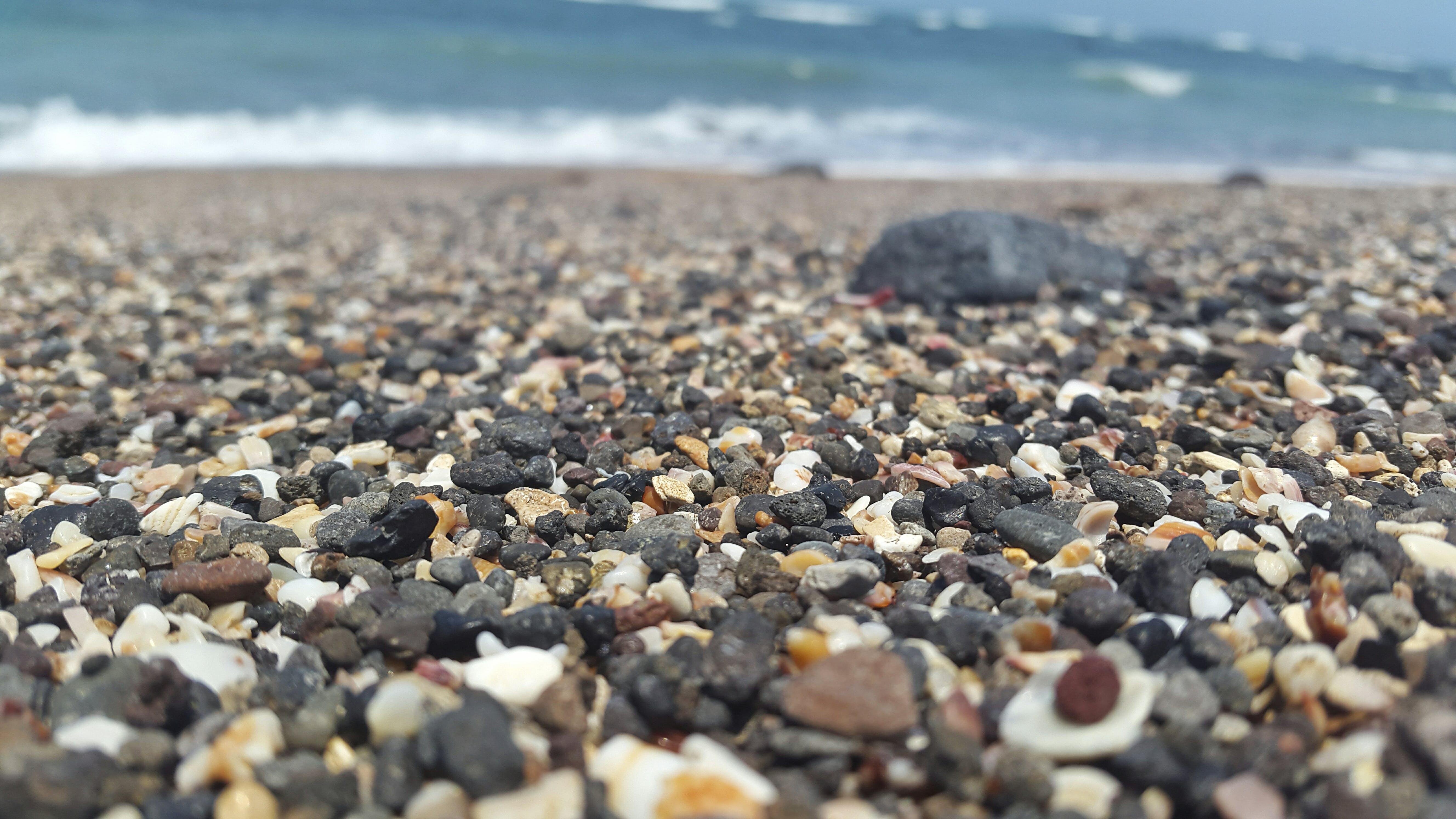 beach, pebbles, sea