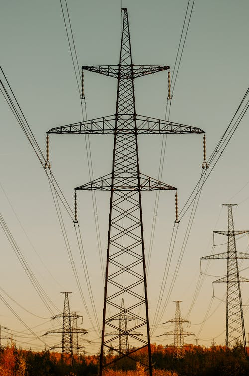 High Voltage Lines at Dusk