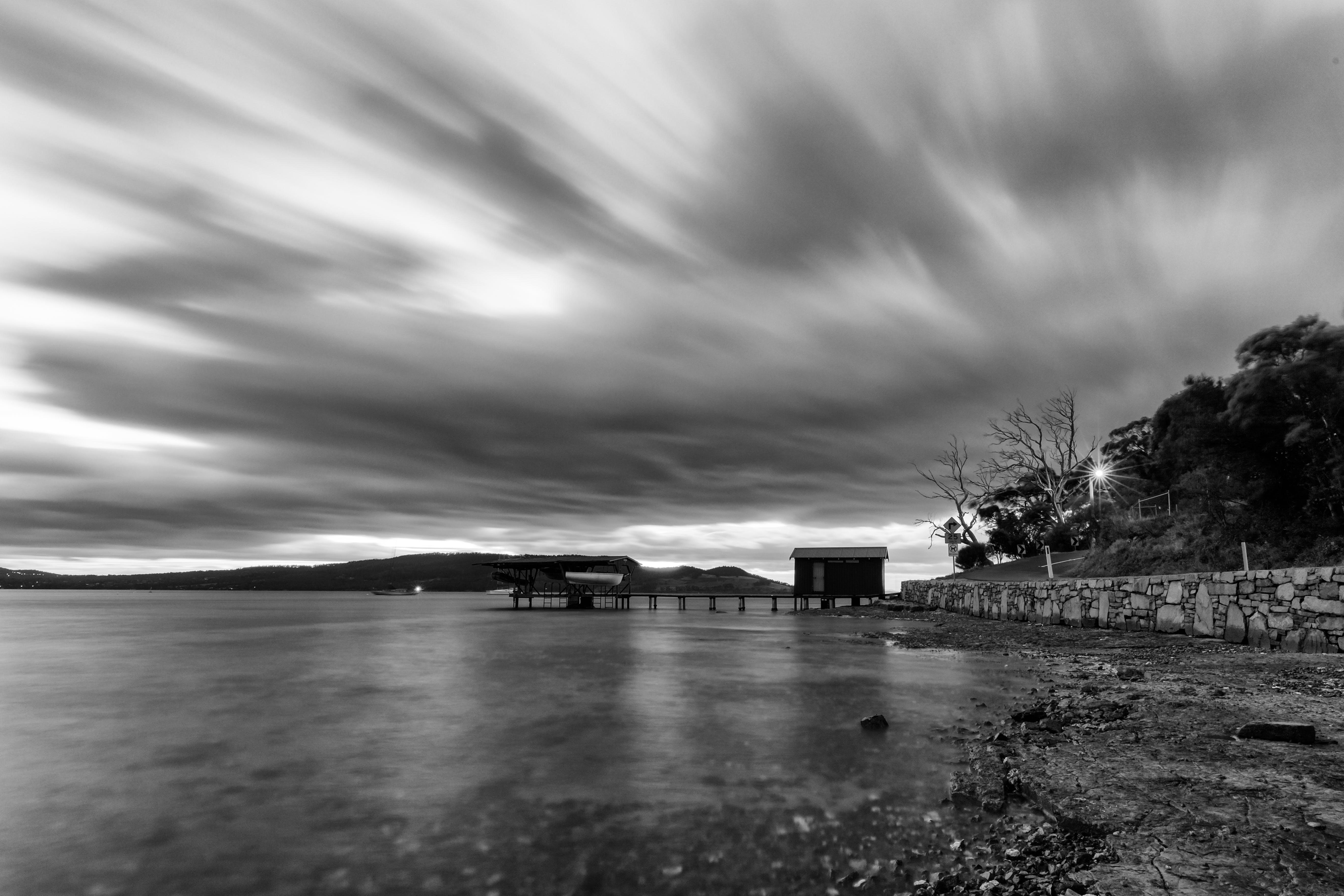Základová fotografie zdarma na téma černobílá, krajina, lehký, moře