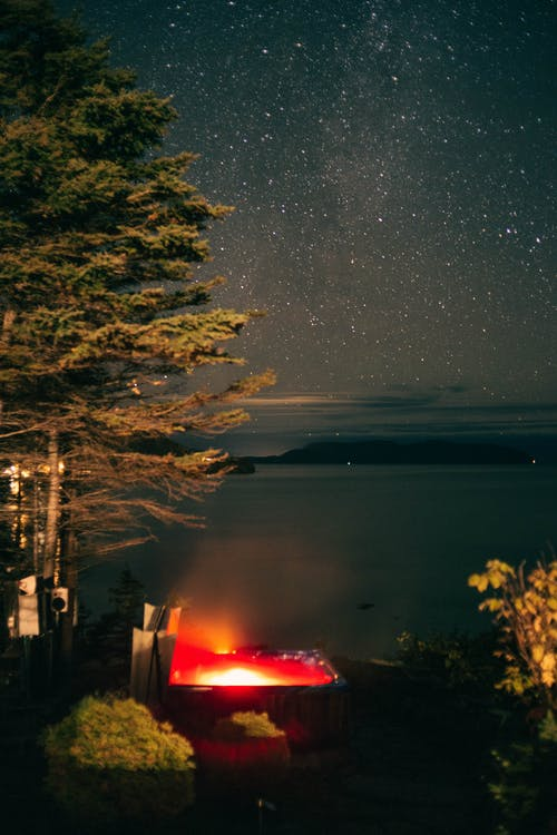 A Shot of Outside Jacuzzi under the Stars