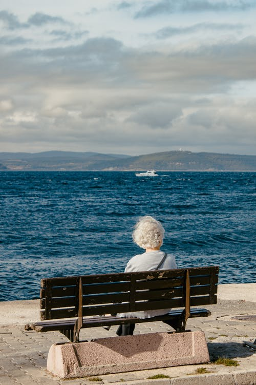 Rear View of Woman Sitting on Bench by Sea