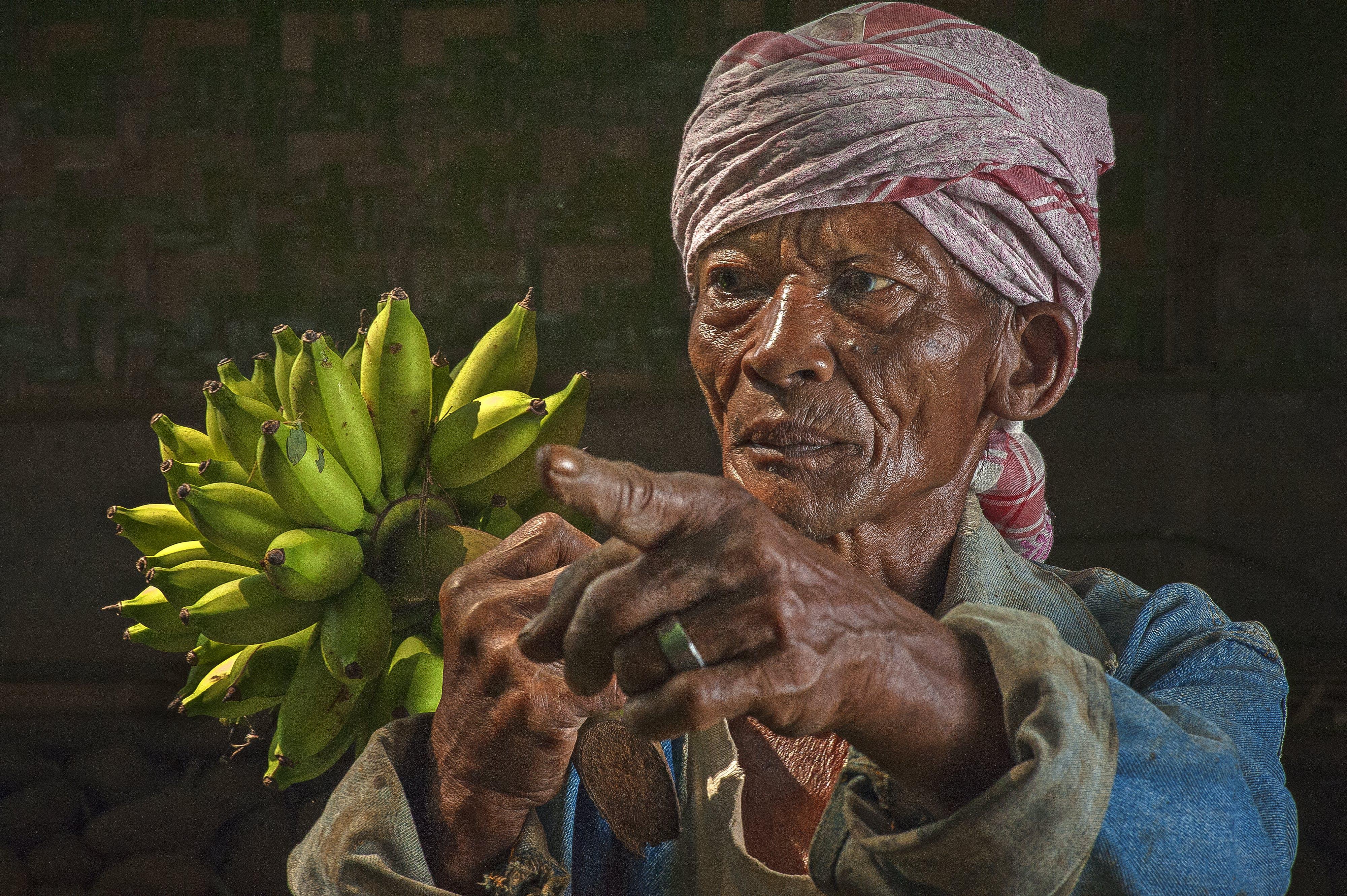 banany, człowiek, dorosły
