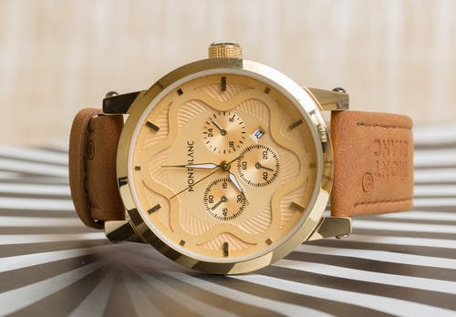 Brown Leather Strap Gold Round Chronograph Watch