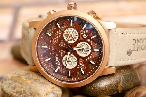 A Mont Blanc Chronograph Wristwatch with Leather Strap
