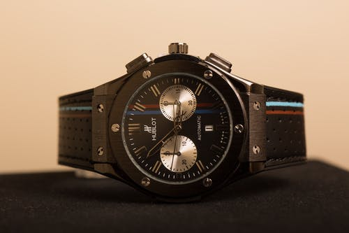 A Black Hublot Wristwatch with Leather Strap