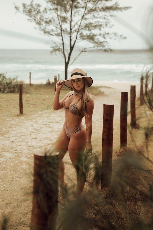 Portrait of Woman Wearing Bikini and Hat