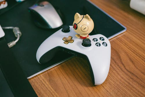 White and Black Game Controller
