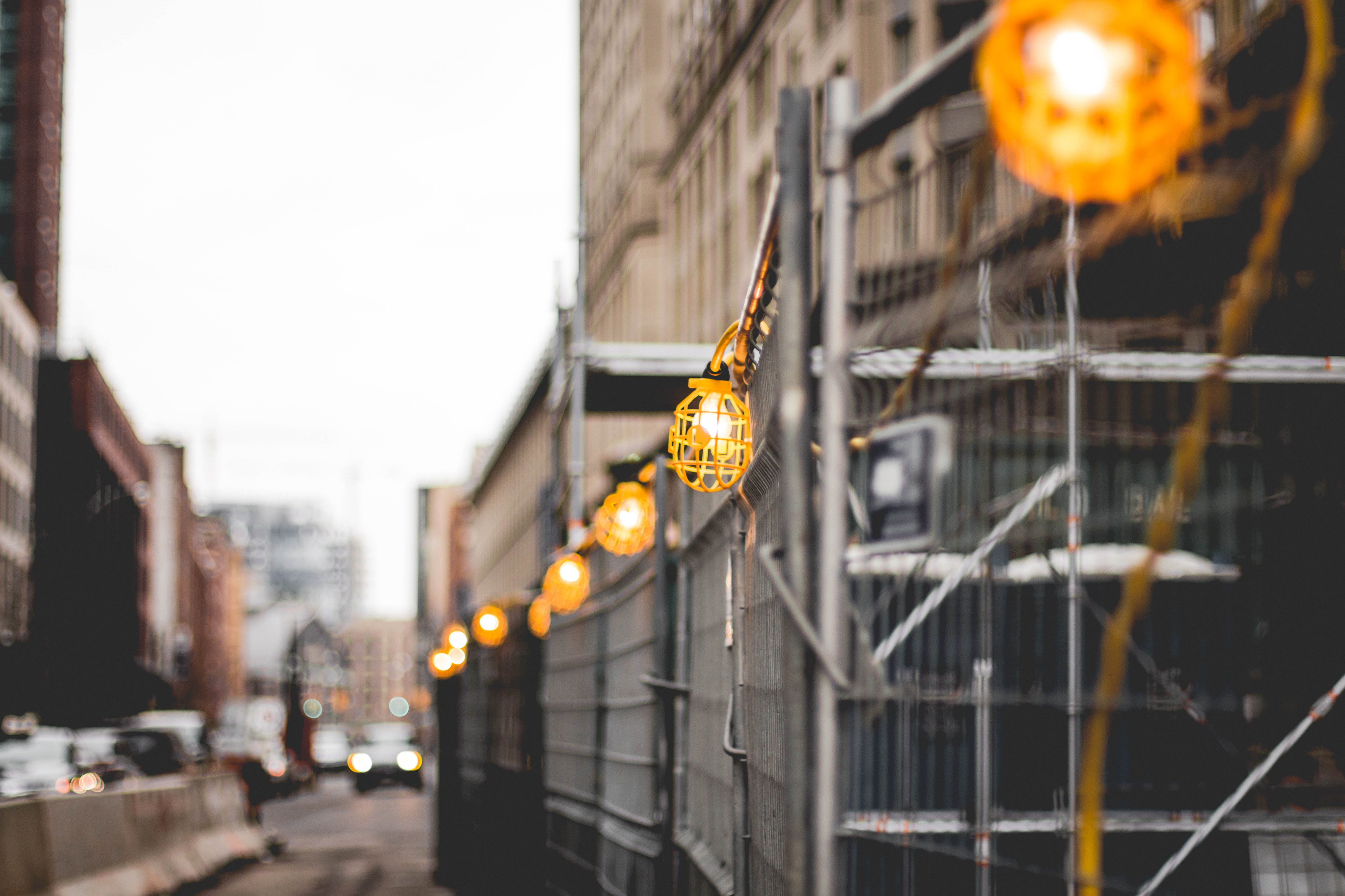Yellow Work Lamps Turned on