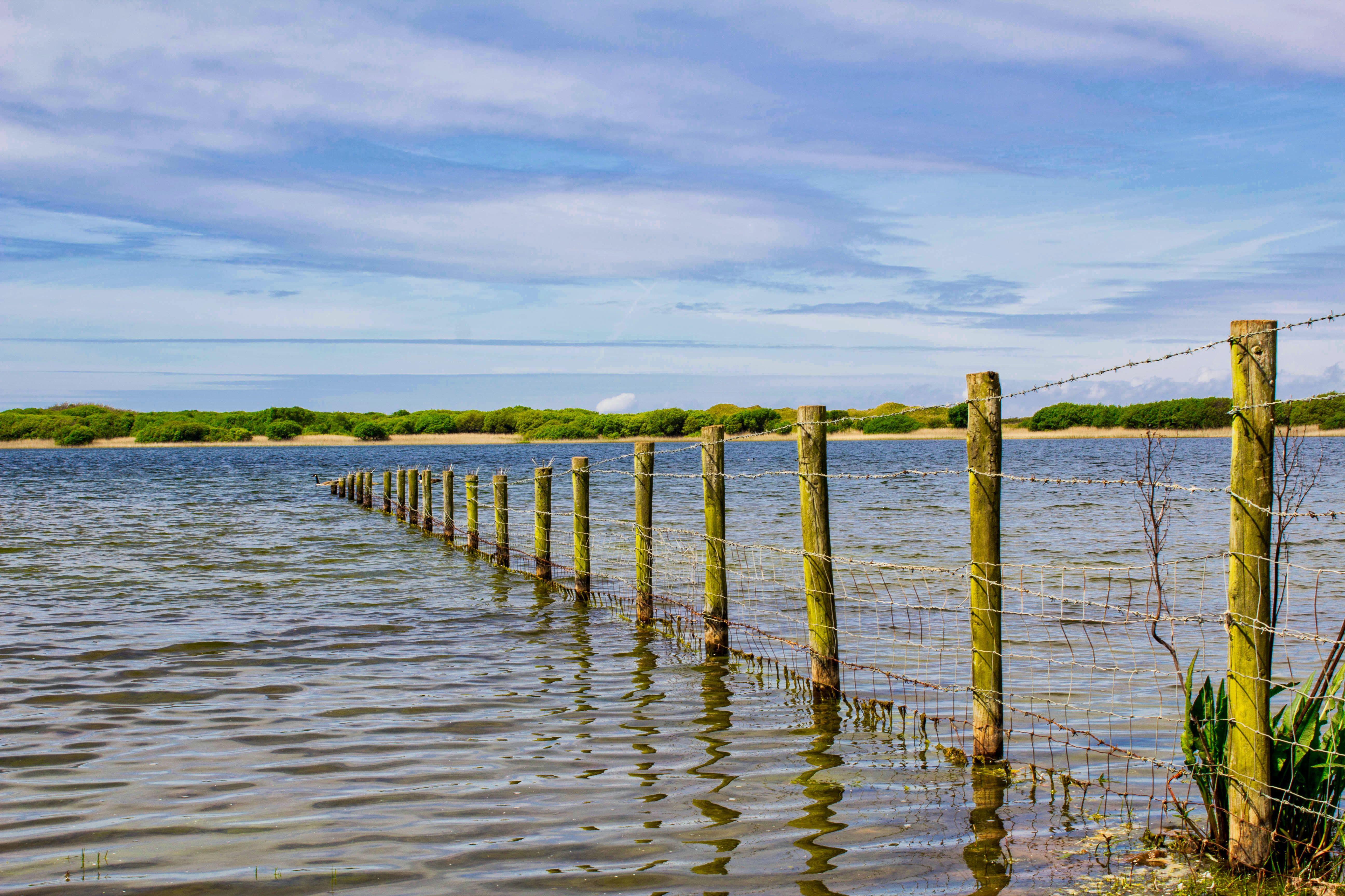 Free stock photo of fence, kenfig poo, lake, landscape
