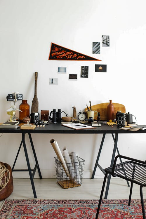 Desk with Items in Home Office