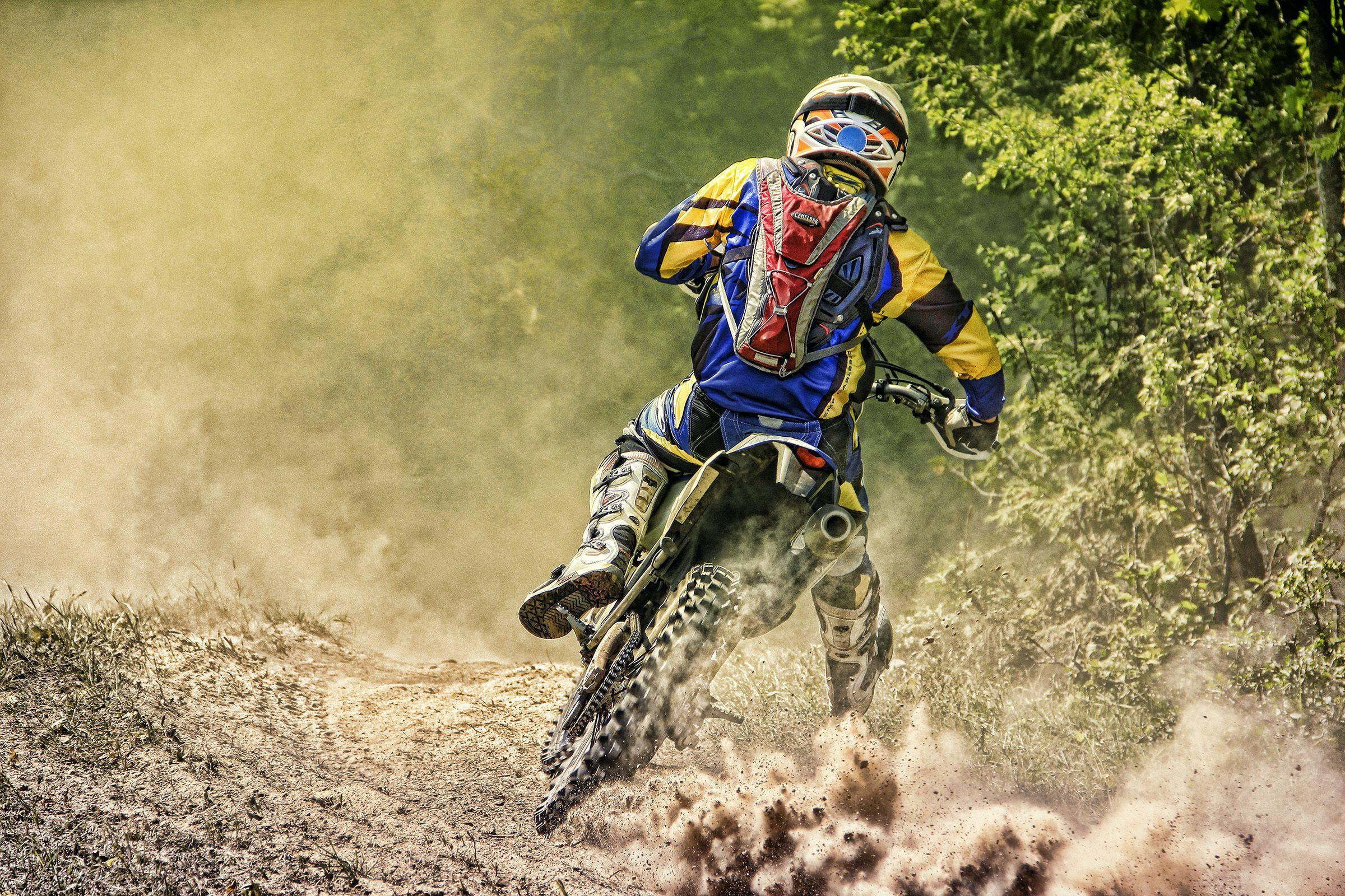 Free stock photo of dirt bike, dust, motorcycle, rider