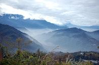 landscape, mountains, fog