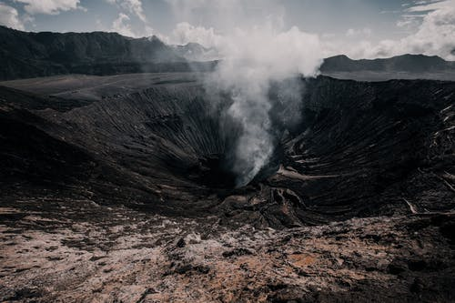 Landscape of Volcano With Smoke
